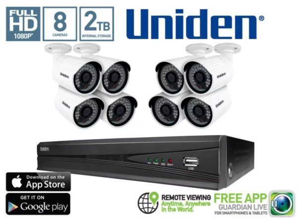 Uniden GDVR8580 1080P NVR Unit 2TB HDD with 8 x 2.1MP Bullet Cameras