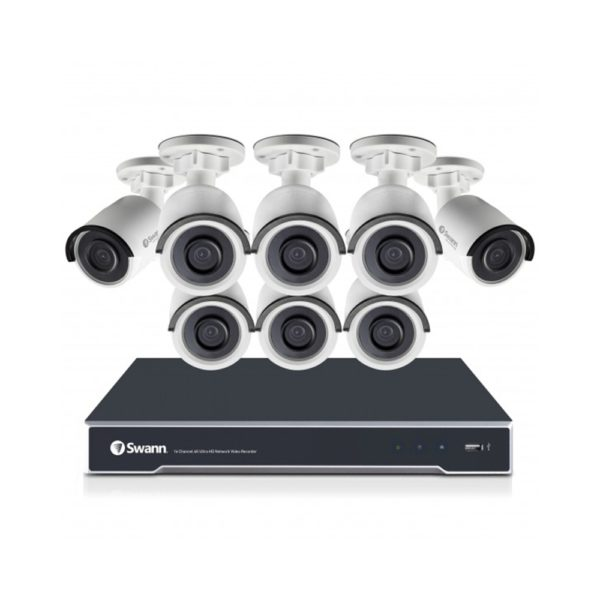 Swann SWNVK-168008 4K 8MP UHD CCTV Recorder with 8x SWNHD-880 Bullet Cameras