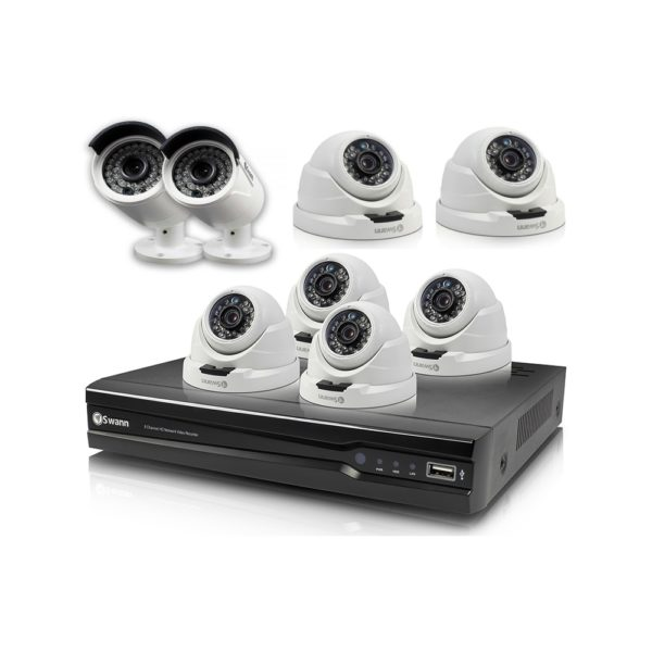 Swann SWNVK-874008 4MP 8Ch NVR with 6x NHD-819 Dome & 2x NHD-818 Bullet Cameras